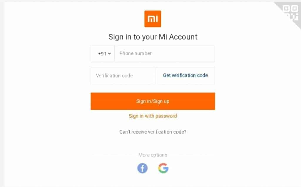 Page of Sign In to MI Account