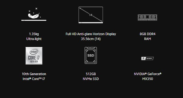 Quick Specifications aboout Mi Notebook 14 Horizon